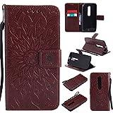Nancen Compatible with Handyhülle Motorola Moto X Style Hülle,Motorola Moto X Style (5,7 Zoll) Leder Wallet Tasche Brieftasche Schutzhülle, Nancen Prägung Sonnenblume Muster