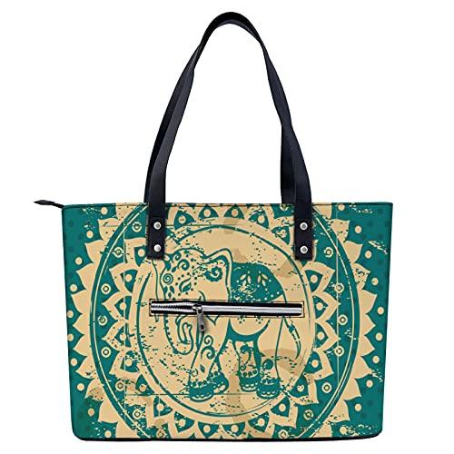 Bolso de mano de elefante tribal indio ligero para ir de compras, gimnasio, senderismo, viajes, yoga, bolsa de hombro con bolsillos exteriores con cremallera