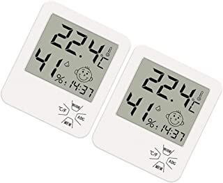 Yardwe Digital Hygrometer Indoor Humidity Gauge Time Display Room Temperature Monitor for Bedroom Office No Battery 2pcs