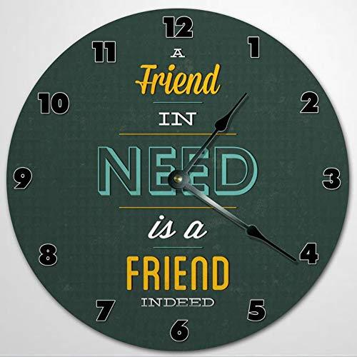 A FRIEND In Need Is A Friend Indeed - Reloj de pared de madera de 30,5 cm, funciona con pilas, decoración de pared de granja