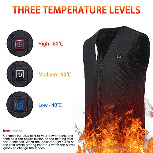 Roeam Heated Vest,USB Electric Heating Vest Waistcoat Heated Clothing for Men and Women Electric Warm Vest Body Warmer Clothes in Winter Warm