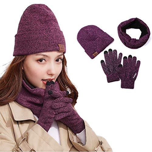 Dmqpp Set winterbeanie hoed sjaal touchscreen handschoenen gebreide muts set unisex voor mannen vrouwen
