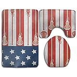 USA Lacrosse Sticks Flag │ Polyester Toilet Carpet,Fashion Bathroom Rug Mats Set 3 Piece Anti-Skid Pads Bath Mat + Contour + Toilet Lid Cover
