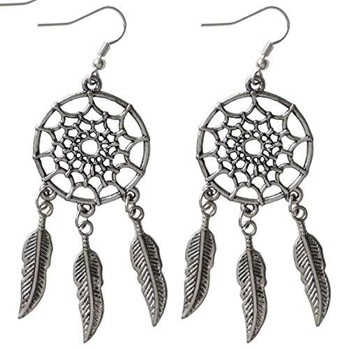 QYMX Ohrring Frauen, Retro Design Netto Nationalen Stil Lange Metall Feder Ohrringe Für Frau Schmuck Geburtstagsfeier Exquisite Damen Schmuck