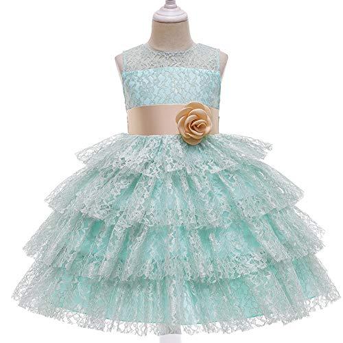 ZCRFYY Vestido de Princesa de Encaje para niños Vestido de niña de Pastel hinchado Vestido de niña Vestido de niña de Flores Vestido de Novia,Verde,120cm