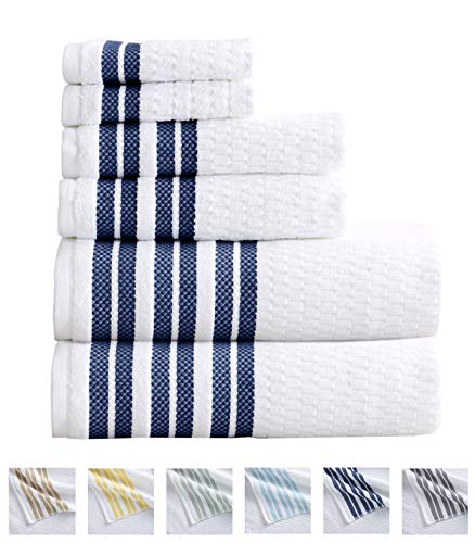 6-Piece Towel Set. 100% Cotton Popcorn Textured Striped Bathroom Towels. Quick Dry and Absorbent Towels. Set Includes 2 Bath, 2 Hand, and 2 Wash. Elham Collection. (6 Piece, Light Grey)
