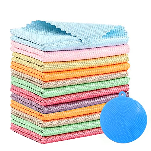 Paños de Microfibra para Platos,Microfibra Trapos de Limpieza,Paño de limpieza,Toallas de cocina,Paños de Cocina,Paño de limpieza,Paños de escamas de pescado (12 piezas)
