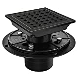 UZITEN Square Shower Floor Drain 4 Inch,Quadrato Pattern Grate Removable,With Flange,Food-grade SUS 304 Stainless Steel,WATERMARK&CUPC Certified,Brushed Red Bronze Antique (4in4in, Black)