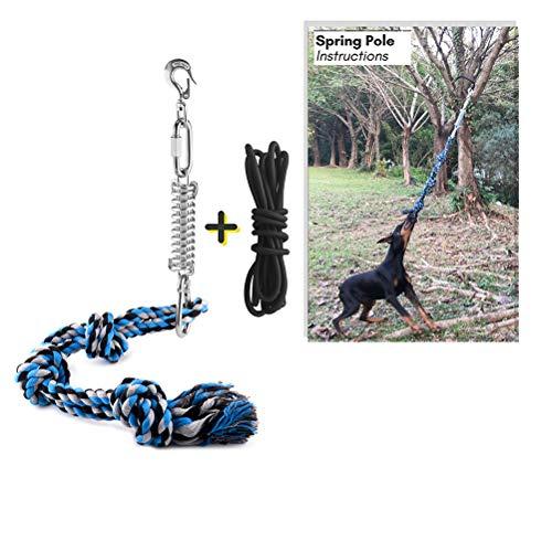 Weesey Spring Pole Hundespielzeug, Hundespielzeug und EIN Seil für Pitbull & mittelgroße bis große Hunde Outdoor-Hängeübungsseil Pull & Tauziehen-Spielzeug