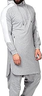 Uomini Vestibilità Slim Casual Con Cappuccio Magliette - Moda Manica Lunga Tinta Unita Top Pullover Felpa Sportiva Arabo M...
