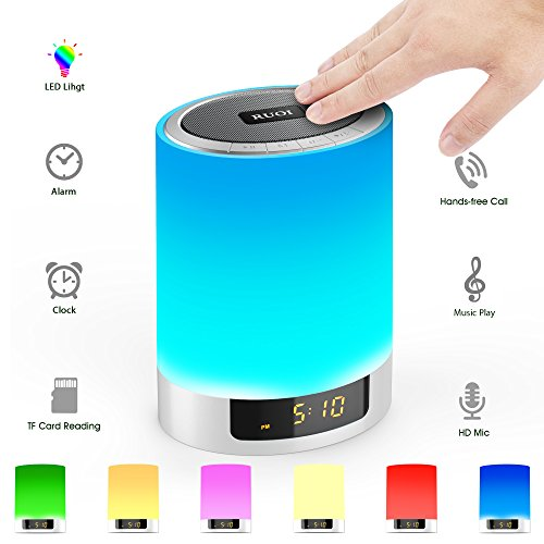 Night Lights Bluetooth Speaker, Touch Sensor LED Table Lamp Dimmable RGB Multi-Color with Alarm Clock, TF Card Slot, Hands-Free Calls, Best Gift for Kids, Party, Bedroom, Outdoor