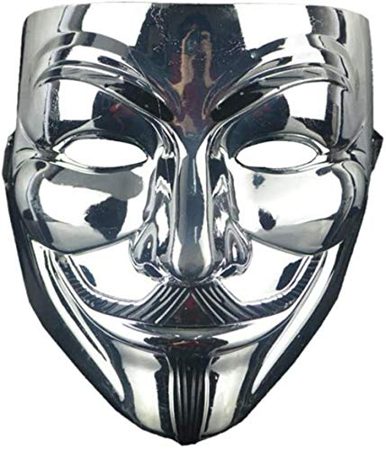 JWCN Fashions Anonymous V for Vendetta for Fancy Carnaval Máscara Unisex Halloween Vestido Fiesta Terror Máscara para Disfrazar Plata Uptodate