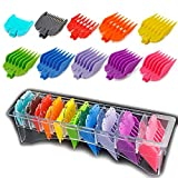 "10 Color Professional Hair Clipper Coded Cutting Guards Guides/Combs- 1/16"" to 1"" -Compatible with Most Size Wahl Clippers"
