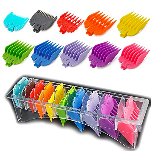 """Product Image 1: 10 Professional Hair Clipper Guards. Color Coded Guides/Combs- 1/16"""" to 1"""" – Compatible with Most Size Wahl Clippers"""