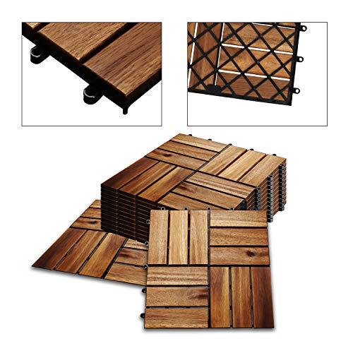 Hengda 1m² Holzfliesen Akazie Mosaik Terrassenfliese 30x30 cm Fliese Stecksystem Mosaik Zuschneidbar Terrasse Balkon FSC®-zertifiziertes