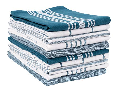 KAF Home Soho Kitchen Dish Towel Set of 10 | 18 x 28 Inch Tea Towels | Soft and Absorbent Mixed Set of Flat Towels (Teal)
