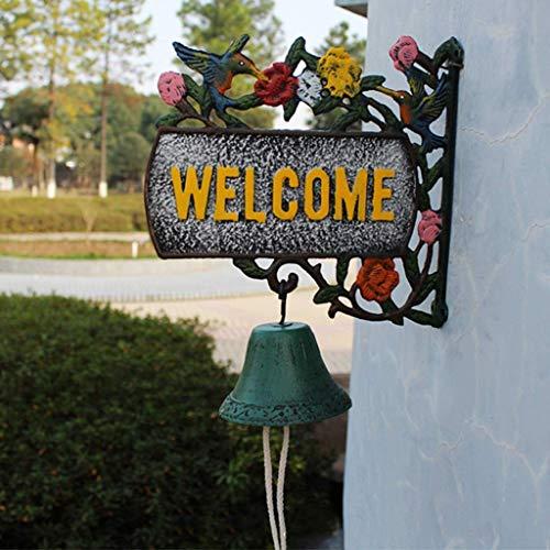 Timbre de Hierro Forjado Puerta de Bienvenida Retro Hummingbird Modeling Hand Craft Ornament 28x11.1x27cm Timbre de Hierro Fundido