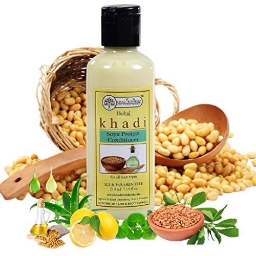 Khadi Rishikesh Herbal Soya Protein Hair Conditioner, soya extremely beneficial for dull & damaged hair, makes the scalp healthy & promotes the growth of hair, boys & girls and men & women (210 ml)
