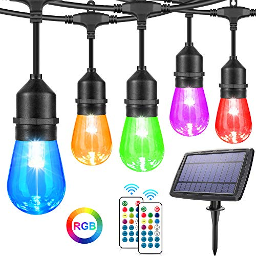 48FT RGB Solar String Lights Outdoor, Dimmable Solar Powered Patio Lights with Remote, 15 Hanging Sockets, Shatterproof S14 Edison Bulbs, Waterproof LED Solar String Lights for Cafe Pergola Yard Party