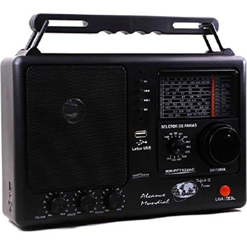 12-Track Portable Radio with USB and SD 1W Black RM-PF 122 / AC - Motobras