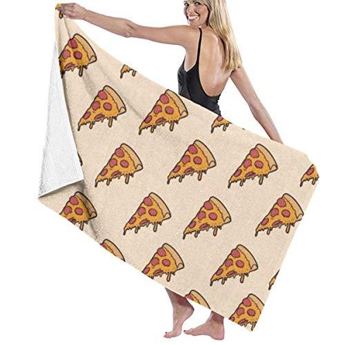 Delicioso patrón de pizza 100% poliéster toalla de playa silla gruesa suave de secado rápido ligero absorbente toalla manta 32 x 52 pulgadas