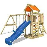 WICKEY Spielturm 'MultiFlyer' Klettergerüst mit blauer Rutsche und oranger Plane