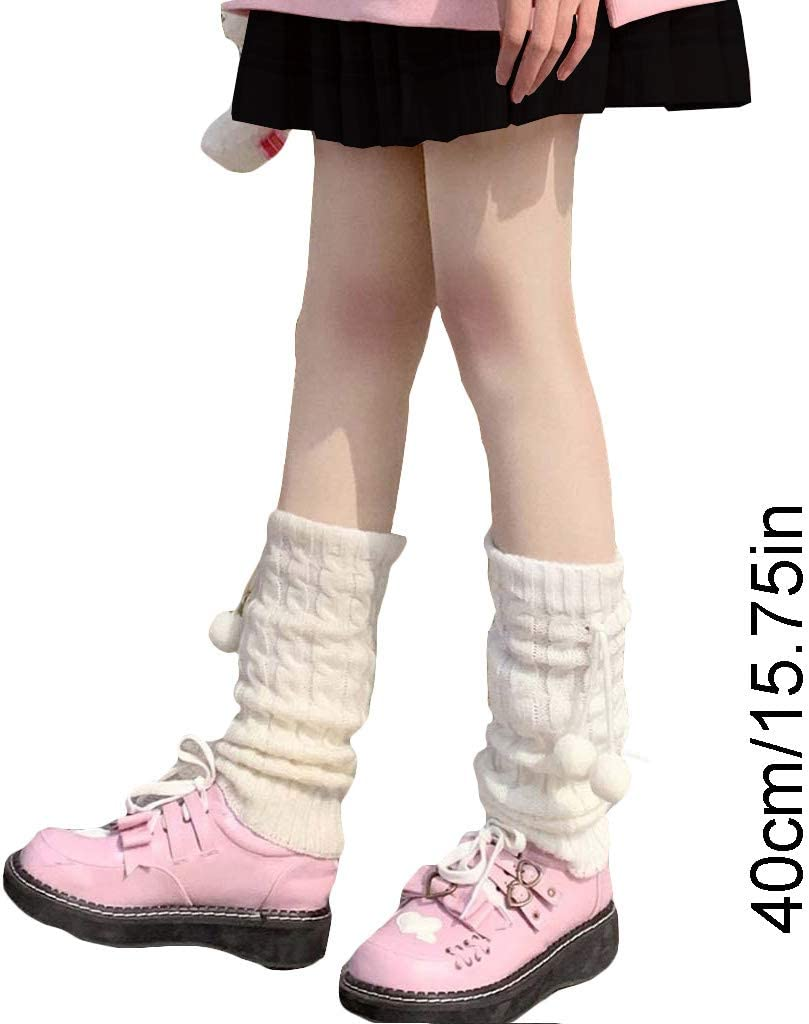 Generic W-Fight Women Girls Knitted Leg Warmers Cover Student Lolita Loose Boot Socks Stockings Xmas Gift