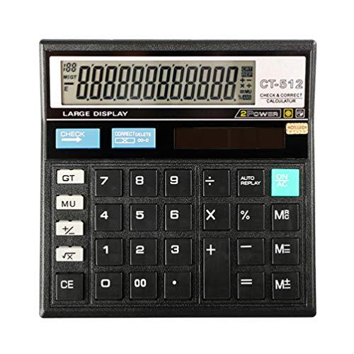 VILLCASE Calculadoras electrónicas, calculadora electrónica de mesa con pantalla LCD grande de mano para oficina diaria y básica, color negro
