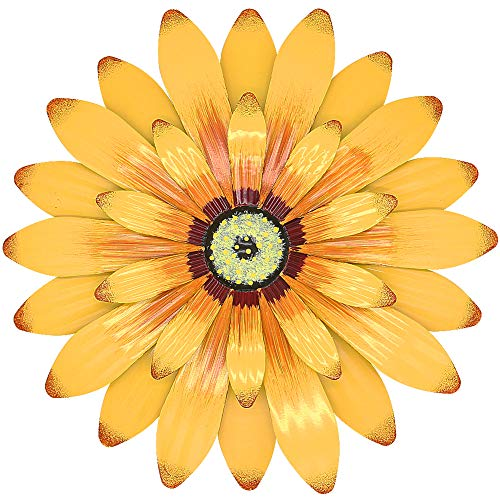 Juegoal 16 Inch Large Metal Flower Wall Art Inspirational Wall Decor Hanging for Indoor Outdoor Home Bedroom Living Room Office Garden, Yellow