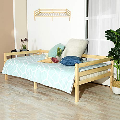 Homy Casa Children's Bed Frame Day Bed Frame Natural Sturdy Pine Solid Wood