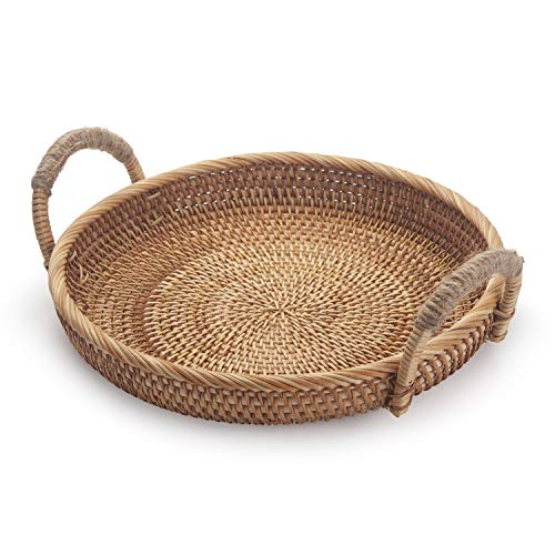 Rattan Round Fruit Baskets for Table Wicker Bread Tray with Handle for Serving Food, Crackers, Snacks (11inch D x 1.8inch H)