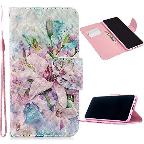 Miagon Full Body Cover Hülle für Xiaomi Redmi Note 8T,Bunt Muster Design PU Leder Handyhülle Klapphülle Schutzhülle mit Karten Steckfächern Standfunktion,Lilie Blume
