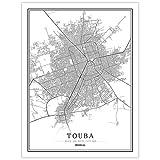 guatan Leinwand Bild,Senegal Touba Stadtkarte Schwarz Weiß