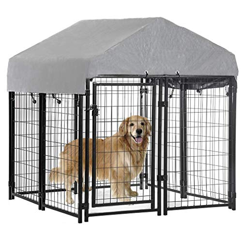 BestPet Welded Wire Dog Kennel Heavy Duty Playpen Included a Roof & Water-Resistant Cover 4'x4'x4.3', Black