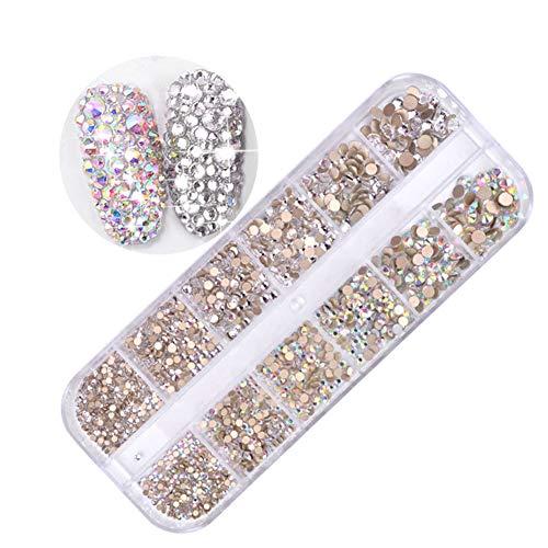 TININNA 1440 Pièces 3D Strass à Ongles Décorations d'Ongles Nail Art Glitter Décor, 12 Grilles Pierres de Strass pour Ongles Perles en Diamant Cristaux à Ongles Nail Art Strass Gemmes Paillettes #01