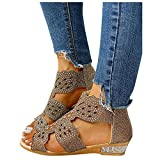 soyienma Sandals for Women Casual Summer,Women Crystal Hollow Out Sandals 2021 Zip Up Gladiator Shoes Slipper Flip-Flops Gold