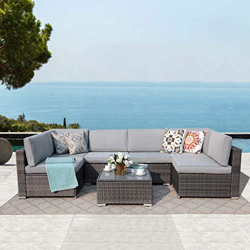 Patiorama 7 Pieces Outdoor Patio Furniture Set, All Weather Grey PE Wicker Rattan Sectional Conversation Set, Porch Garden W/Built-in Glass Table, Seat Clips, Light Grey Cushions