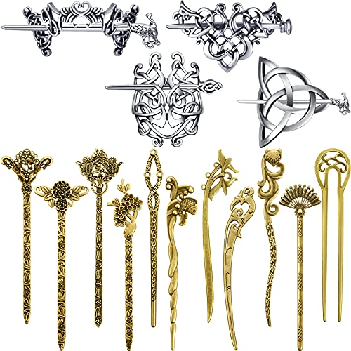 4 Pieces Retro Sliver Celtic Hair Slide Hairpins Celtic Pin Hair Sticks and 11 Pieces Chinese Hair Pins Hair Sticks Vintage Bronze Hair Chopsticks for Women Girls