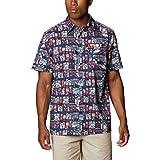 Columbia Camisa de Campamento de Marea súper Holgada para Hombre, Hombre, Super Slack Tide - Camiseta de Campamento, 165376, Impresión de Martinis y mentiras de Carbono, L