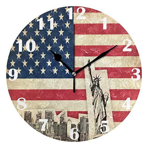 Jacque Dusk Reloj de Pared Moderno,Bandera De Estados Unidos Estados Unidos De América,Grandes Decorativos Silencioso Reloj de Cuarzo de Redondo No-Ticking para Sala de Estar,25cm diámetro