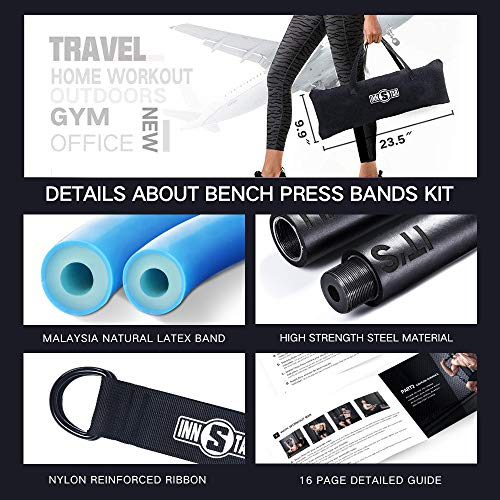 INNSTAR Bench Press Bands Kit, Adjustable Resistance Band with bar and Squat Bands for Home Workout, Home Gym Set for Chest, Arm, Leg Training (Camo Blue-105 LBS)