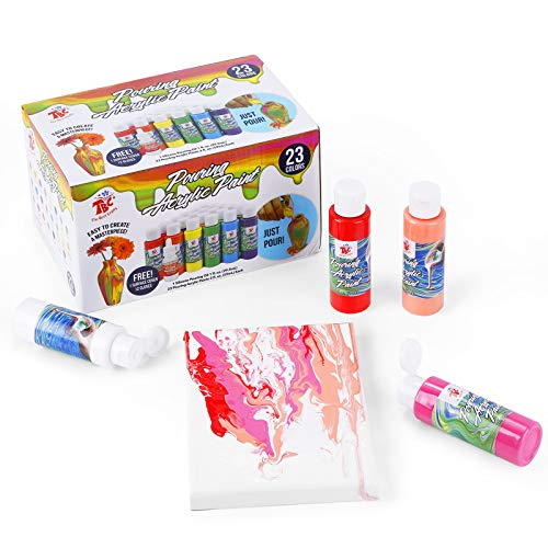 TBC The Best Crafts,Pouring Acrylic Paint kit,23 Colors x 2oz/59ml Bottles,Non Toxic Paint,Art Supplies for Pouring on Canvas,Stonge,Wood,Plaster and More