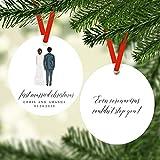 Lplpol Adorno de Navidad con texto en inglés 'Mr And Mrs First Married 2020' personalizado Mr & Mrs Ornamento de recién casado