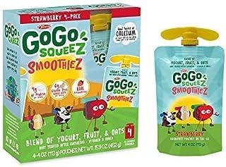 GoGo SqueeZ GoGo squeeZ SmoothieZ, Strawberry, 4 Ounce (24 Pouches) | Gluten Free Yogurt, Fruit, & Oat Pouches | Individual Snacks for Kids | No Preservatives | Reclosable, BPA Free Convenient Pouches