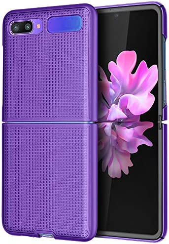 Case for Galaxy Z Flip, Nakedcellphone [Purple] Protective Snap-On Cover [Grid Texture] for Samsung Galaxy Z Flip 5G Phone (SM-F700, SM-F707) 2020