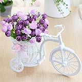 Flores artificiales Flores decorativas artificiales 3 piezas artificiales Rose Flowers + florero Set de bicicleta de ratán con flores de frutas falsas decoración de mesa valla de madera Planta verde
