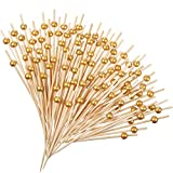 120 Counts Fancy Toothpicks for Appetizers Faux Pearl Toothpicks Wooden Decorative Cocktail Picks Handmade Sticks Long Appetizer Toothpicks Cocktail Sticks for Home Party, Dessert, Fruit (Gold)