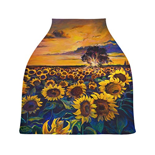 Fantastic Deal! Blueangle Sunflower Field Oil Painting Baby Car Seat Cover, Nursing Covers Soft Brea...