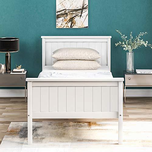 Daverose Einzelbett, Holzbett 90 x 190 cm Kiefer Bettgestell mit Kopfteil & Fußteil/Holzlattenrost/Matratzenbasis/Holzlattenrost, weiß