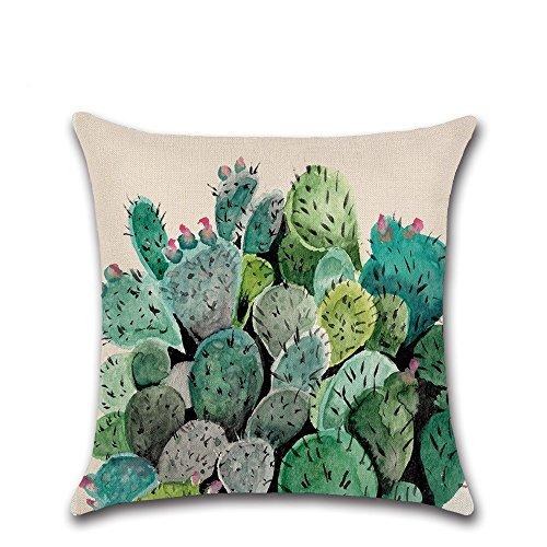 Excelsio Vert plantes Cactus Series Coque Housses de coussin pour canapé lit Salon Chambre à coucher Home Decor, personnalisé carré en coton et lin Taie d'oreiller Housses de coussin 45 x 45 cm/45,7 x 45,7 cm